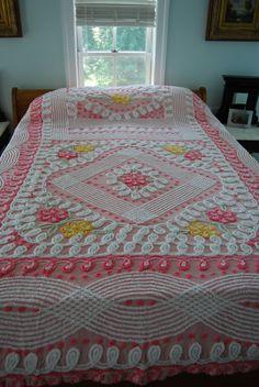 Sweetest Pink Vintage Chenille Bedspread Flowers by GreatSilverFox, $198.00