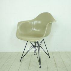 Eames Herman Miller Molded Fibreglass DAR Armchair with Eiffel base in Light Greige