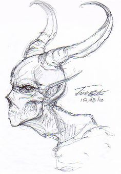 Demon Profile Sketch by Demented-Beholder