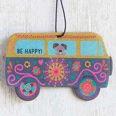 """Van Be Happy Air Freshener - You will love this set of three super cute van air fresheners! """"Be Happy"""" sentiment and cute little dog reminds you to live happy. Perfect for school and gym lockers, too! Lemon scent."""