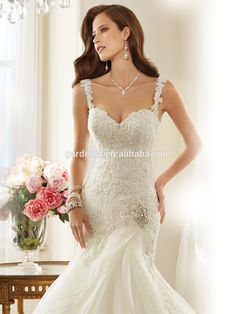 2015 Style High Fashion Custom Made Lace Appliqued Bodice Mermaid Latex Wedding Dress (ZX2012)