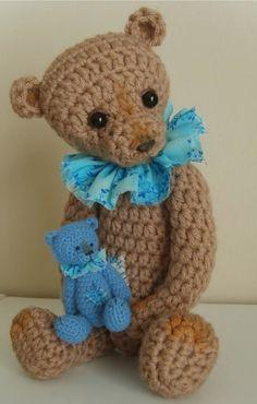 Thursday Handmade Love week 66 Theme: Teddy Bears Includes links to #free #crochet patterns  Make your Own Small Crochet THREAD ARTist Vintage Style Teddy Bear like Dominic  PATTERN PDF - By Stefanie Devlin via Etsy