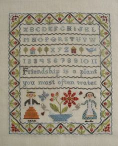 why don't these ladies start designing again. Birds of a Feather - Friendship sampler. Just darling!