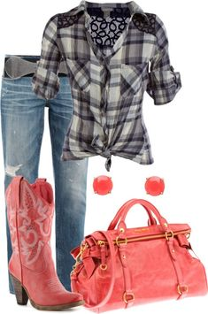 """""""Pink Country Western"""" by lovenorchids on Polyvore....not a big fan of the pink boots but I sooooo love this whole outfit!!!"""