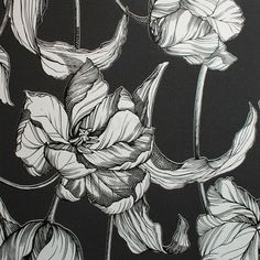 Harem Tulips Wallpaper by Laurence Llewelyn-Bowen - Black Flower Wall Coverings by Graham & Brown
