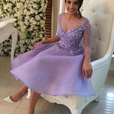 Short Prom Dresses,Lavender Prom Dresses,Prom Dresses With Handmade Flower,Prom Dresses With 3/4 Sleeve,Organza Prom Gowns,PD160424