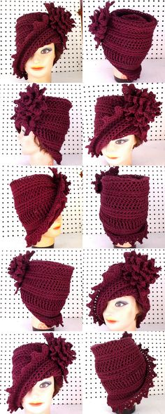 LAUREN Crochet Cloche Hat in Aubergine Cotton