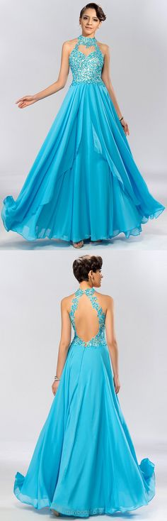 Blue Prom Dresses, Long Prom Dresses, Lace Prom Dresses, 2018 Prom Dresses A-line, High Neck Prom Dresses Chiffon, Tulle Prom Dresses with Appliques