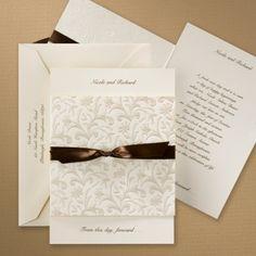 Ecru Pearlized Tapestry - Invitation | Carlson Craft Wedding & Stationery Products