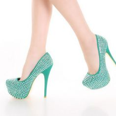 Sea Green Faux Suede Iridescent Faceted Beaded Platform Pump Heels