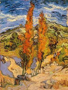 Vincent van Gogh - Zwei Pappeln an einem Weg durch die Hügel