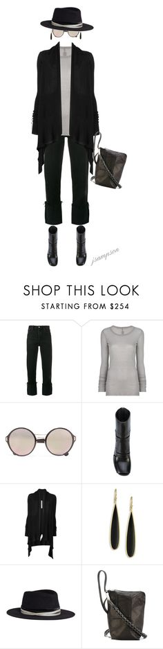 """""""Rick Owens"""" by shadedlady ❤ liked on Polyvore featuring RE/DONE, Rick Owens, Prada, Ippolita and Maison Michel"""