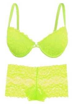 2b07ae7ceab08 Lace Bra and Panty Set in Neon Pink