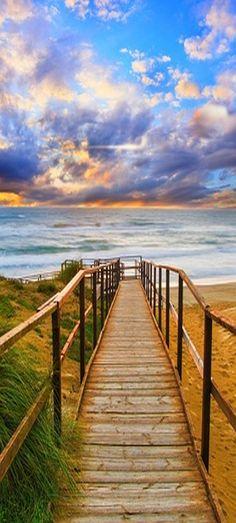 amazing beach shot #sky beach path ocean sea  www.goodfon.ru/wallpaper/nature-landscape-scenery-sky-3538.html