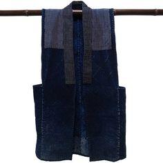 "Japanese Noragi Boro Kogin Sashiko Indigo Vest"""