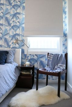 designed and styled by Interiors by Charlie. the blue palm bedroom. Cole & Son wallpaper - palm jungle.
