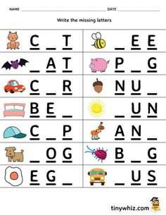 Kindergarten Three Letter Words Worksheets Free Printable Worksheet Write the Missing Letter 3 Letter English Worksheets For Kindergarten, Preschool Writing, Kindergarten Math Worksheets, Phonics Worksheets, Teacher Worksheets, Learning English For Kids, English Lessons For Kids, Spanish Lessons, Learning Spanish