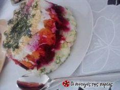 Σαλάτα Χριστουγεννιάτικη σαν τούρτα συνταγή από juligram - Cookpad Tapas, Sushi, Recipies, Cooking, Ethnic Recipes, Food, Decorations, Flowers, Recipes