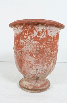 """magnificent-antique-french-19th-century-anduze-citrus-planter Magnificent early 19th century antique Anduze citrus planter in good condition with some slight chipping at rim consistent with age and use ,attractive swag decoration, with maker's mark """"Boisset Anduze"""" in cartouche; drainage hole in bottom circa 1820 H X 76 cm Rim diameter 65 cm"""