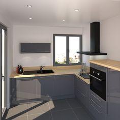 petit coin cuisine meubles couleur bleu gris et finition brillante plan de travail en - Deco Cuisine Gris Plan De Travail Ardoise