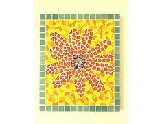 Mosaic art work 'Red flower' by artist Pia Lönnqvist