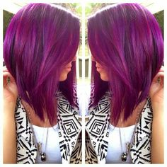 Purple hair inverted Bob