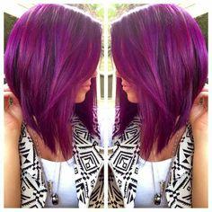 Purple hair inverted Bob