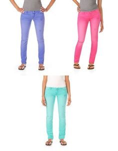 """(COLORED PANTALOONES """"LOVE BLUE AND PINK"""") Aeropostale Womens Low Rise Signature..."""
