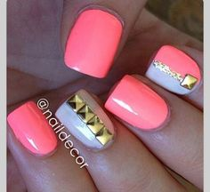 These nails are awesome! These are great nails for the Get Nails, Fancy Nails, Love Nails, How To Do Nails, Hair And Nails, Pink Nails, Gorgeous Nails, Pretty Nails, Studded Nails