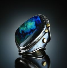 Labradorite Ring. Fabricated Sterling Silver 18k. www.amybuettner.com