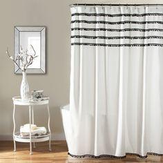 lush decor aria pom pom shower curtain u0026 reviews wayfair