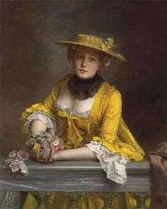 The yellow dress, Gustave-Jean Jacquet. French (1846 - 1909)...what a sweetie, lovely painting!