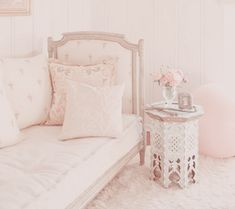 Love The Bedside Table * Pretty Pink Cushions *Fluffy Pink Rug. RH ❤