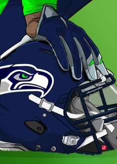 "NFL Team Helmets Seattle Seahawks #Displate artwork by artist ""Akyanyme Dotcom"". Part of a 32-piece set featuring helmet designs based on team emblems from the NFL National Football League. £38 / $51 per poster (Regular size), £76 / $102 per poster (Large size) #NFL #NationalFootballLeague #AmericanFootball #SuperBowl #SeattleSeahawks  #Seahawks"