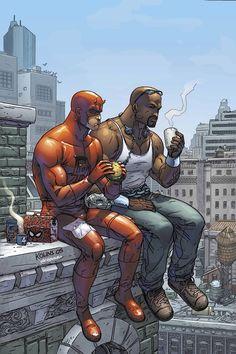 Daredevil & Luke Cage by Scott Kolins
