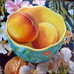 Blue Bowl with Peaches on Black Floral Cloth by Joanna Olson