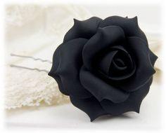 Large Black Rose Hair Pin - Black Rose Wedding, Black Bridesmaid Hair Flower, Black Hair Flower