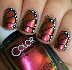 Monarch butterfly nail art using a multitchrome nail polish from Color Club: Burnt Out