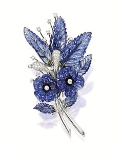 Carved Sapphire and Diamond 'Flower' Brooch