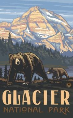 Northwest Art - Glacier National Park Bear and Cub by Paul A. Lanquist - old WPA vintage style poster