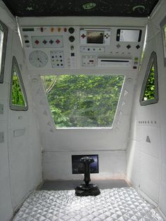 Gave me the greatest idea ever! Old broken down car or useless caravan, cubby house or book nook one end, and spaceship control panels on the other! Your own personal shuttle experience