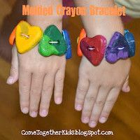 Recycle crayons with the Bodacious Crayon Bracelet. It's adorable, and you can take it off and use it to color. Recycled kids' crafts are fun ways to save money. Melted Crayon Canvas, Melted Crayon Crafts, Projects For Kids, Craft Projects, Craft Ideas, Fun Ideas, Fun Crafts, Crafts For Kids, Toddler Crafts