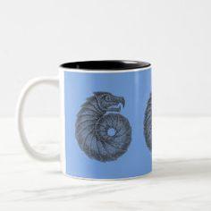 Mug AMMONITE black on jeans Ocean Creatures, Celtic Designs, Ammonite, Dog Design, Photo Mugs, Fossil, Coffee Mugs, Lavender, Aqua