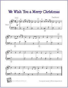We Wish You A Merry Christmas | Free Sheet Music for Piano - http://makingmusicfun.net/htm/f_printit_free_printable_sheet_music/we_wish_you_a_merry_christmas_piano.htm