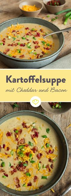 Sämige Kartoffeln treffen im Suppentopf auf würzigen Cheddar. Gemeinsam mit kr… Creamy potatoes meet spicy cheddar in a soup pot. Together with crispy bacon, they become a creamy potato soup with a crispy effect. Potato Bacon Soup, Cheddar Potatoes, Creamy Potato Soup, Queso Cheddar, Bacon Bacon, Creamy Cauliflower, Bacon Recipes, Soup Recipes, Chicken Recipes