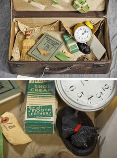 Insane asylum patients: Abandoned suitcase with yellow alarm clock, straw broom, small Scotty dog figure, shoe polish cream and booklet. Insane Asylum Patients, Willard Asylum, Abandoned Asylums, Abandoned Places, Mental Asylum, Psychiatric Hospital, Abandoned Hospital, Thing 1, Private Life