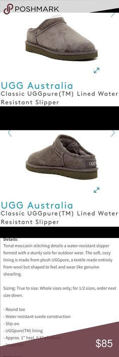 Uggs pure slippers water resistant 7 gray women's Uggs pure water resistant slippers, tugged soles, can be worn outside too. Grey . Sz 7  I got these for Christmas but are too small. Worn a few times, they just are too small for me...😞 UGG Shoes Slippers