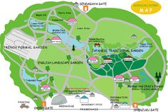 """Image: Park Map Shinjuku Gyoen was constructed on the site of a private mansion belonging to Lord Naito, a """"daimyo""""(feudal lord) of the Edo era. Completed in 1906 as an imperial garden, it was re-designated as a national garden after the Second World War and opened to the public. With 58.3 ha(144 acres) in size and a circumference of 3.5 km, it blends three distinct styles, French Formal Garden, English Landscape Garden and Japanese Traditional Garden, and is considered to be one of the most…"""