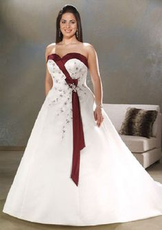 Plus Size Custom White and Red Embroidery Sweetheart Wedding Dress Bridal  Gown fd22976d263e