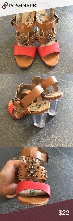 Sam Edelman color block studded heels. Sam Edelman color block heel. Has all Studds , clear chunk heel. Slight wear at toes. Size 8 Sam Edelman Shoes Heels